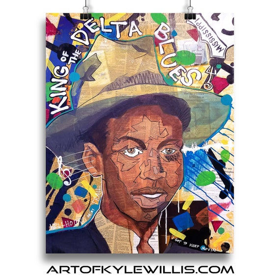 Robert Johnson King of the Delta Blues acrylic painting fine art print