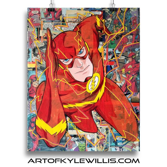 The Flash - DC Comics Acrylic Collage Painting Fine Art Print