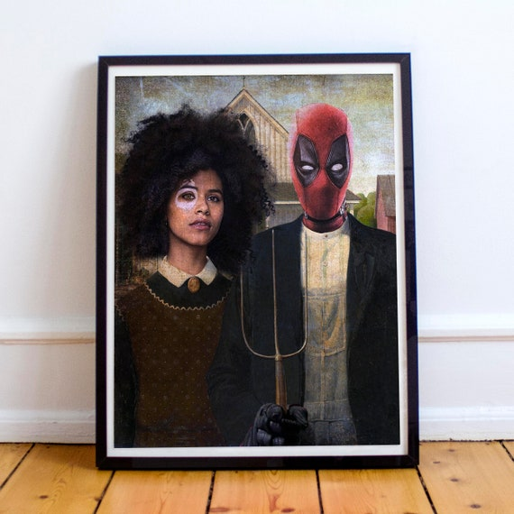 Deadpool & Domino - Classical Painting Fine Art Print
