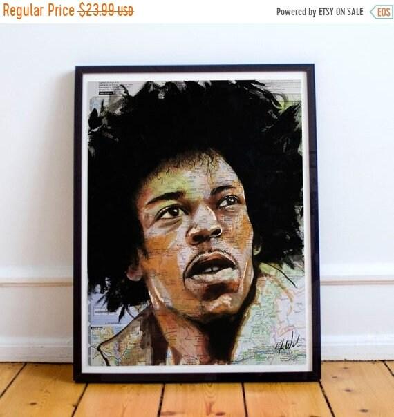 On Sale Jimi from Seattle - Jimi Hendrix Seattle Washington Sketch Atlas  Fine Art Print