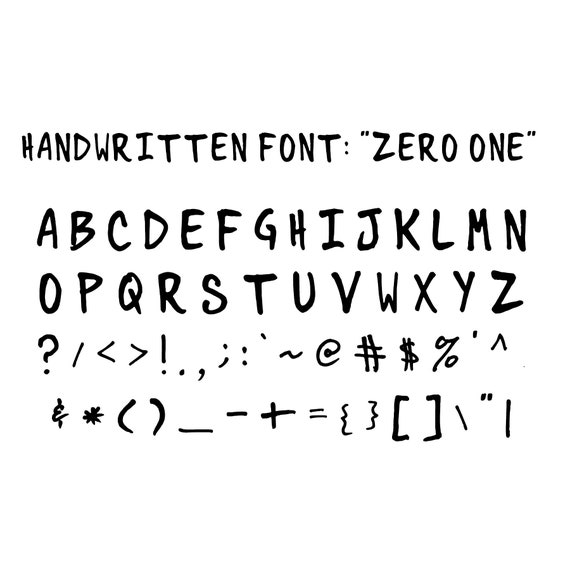 "Handwritten Font: ""Zero One"""