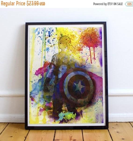 On Sale Captain America - Avengers Watercolor Painting Fine Art Print