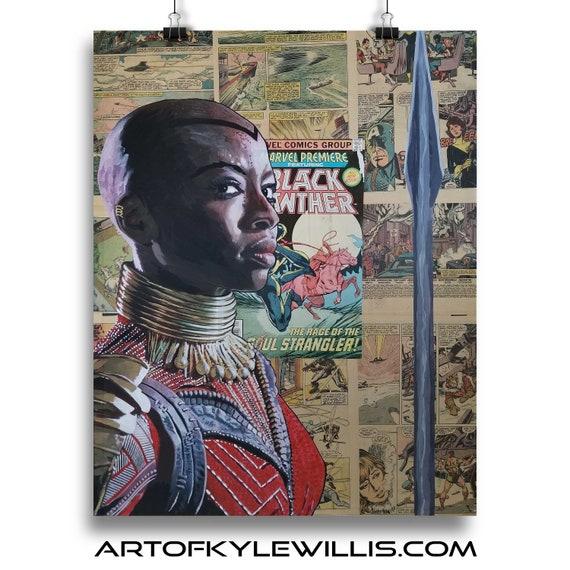 General Okoye - Black Panther Danai Gurira Collage Painting Fine Art Print
