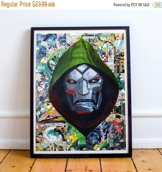 On Sale Doctor Doom Collage Painting Fine Art Print