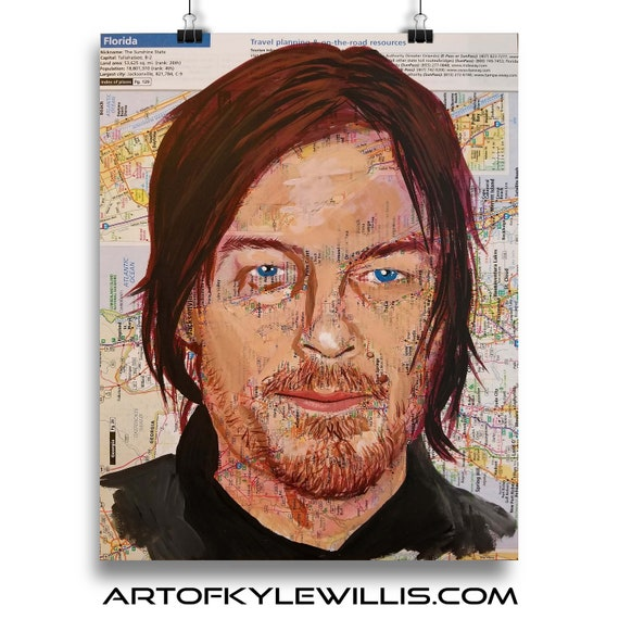 Norman Reedus from Florida Walking Dead Boondock Saints  Sketch Atlas marker portrait fine art print