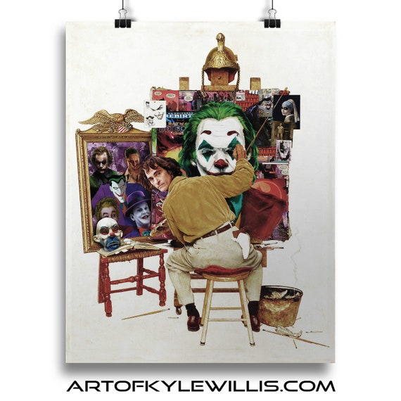 Batman Joker Joaquin Phoenix Norman Rockwell Painting Fine Art Print