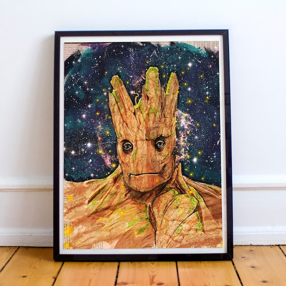 I AM GROOT - Guardians of the Galaxy  Acrylic Collage Painting Fine Art Print