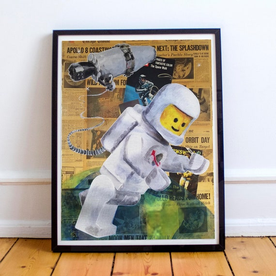 LEGO Space Walk - NASA Astronaut Apollo Collage Painting Fine Art Print