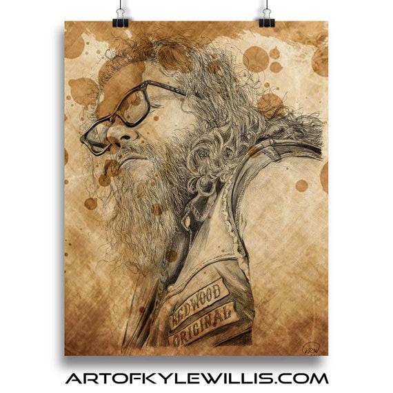 Bobby Munson Sons of Anarchy ballpoint pen portrait fine art print