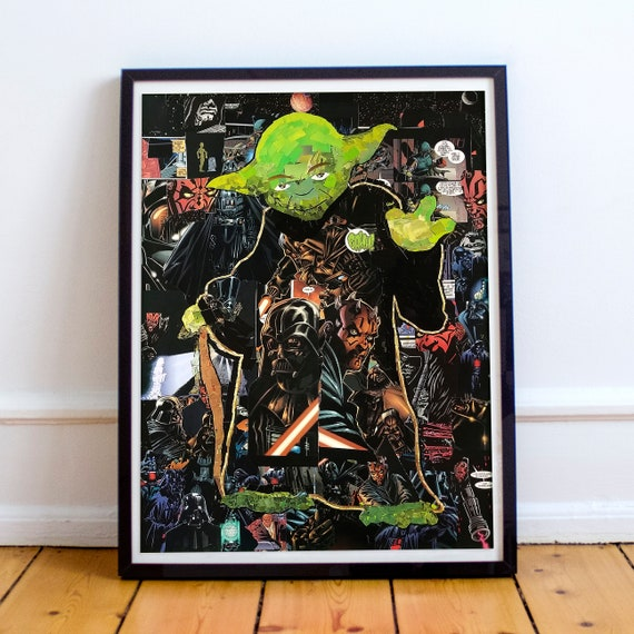 Yoda - STAR WARS Mosaic Collage Fine Art Print