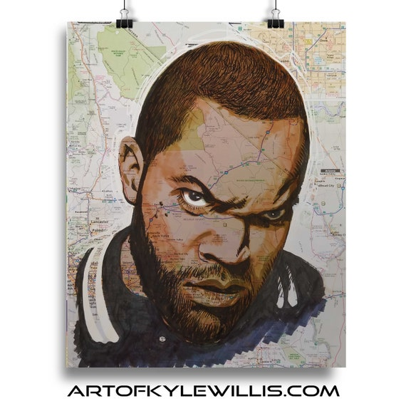 Ice Cube from California marker portrait fine art print