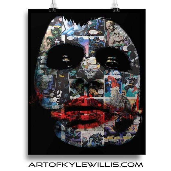 Batman Joker Heath ledger Collage Painting Fine Art Print
