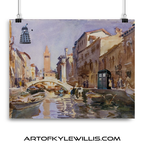 Doctor Who Daleks In Venice Multimedia Fine Art Print