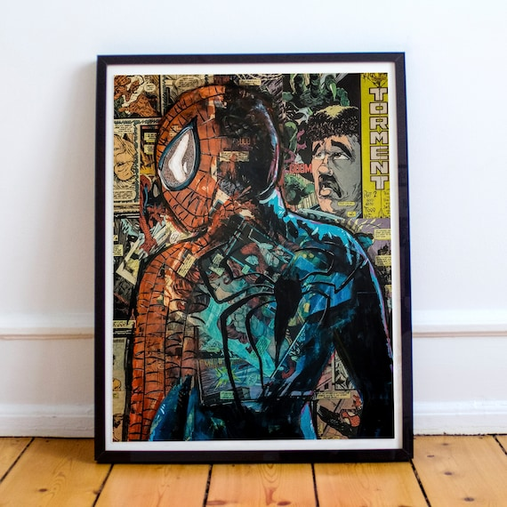 No Regrets - Amazing Spider-Man Collage Painting Fine Art Print