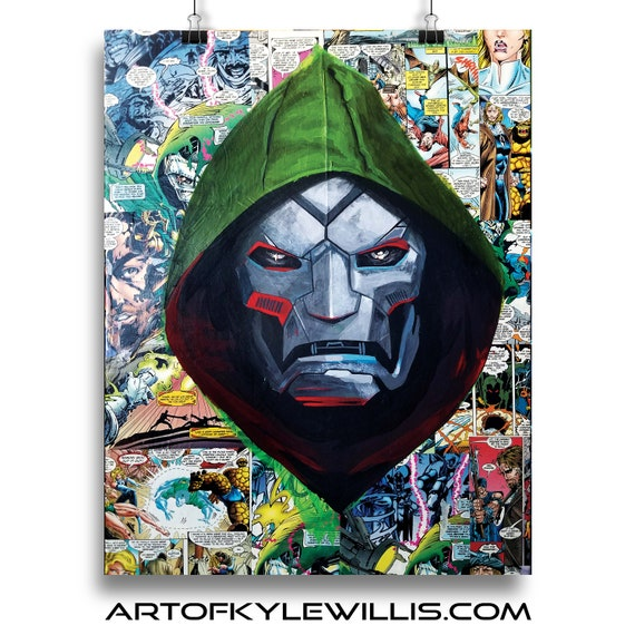 Doctor Doom Collage Painting Fine Art Print