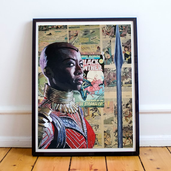 General Okoye - Black Panther Danai Gurira Collage Painting Fine Art Print