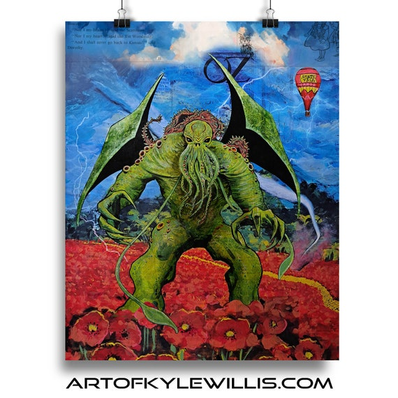 Cthulhu Invades Oz Collage Painting Fine Art Print