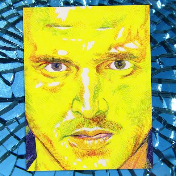 Jesse - Breaking Bad  Jesse Pinkman Aaron Paul Ballpoint Pen Illustration Fine Art Print