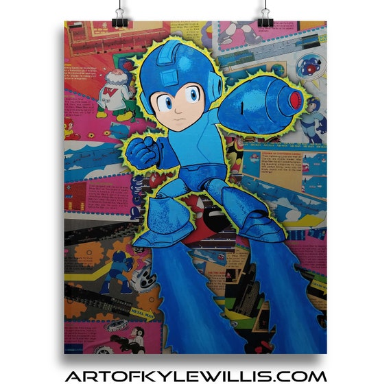 Mega Man Nintendo Power Collage Fine Art Print