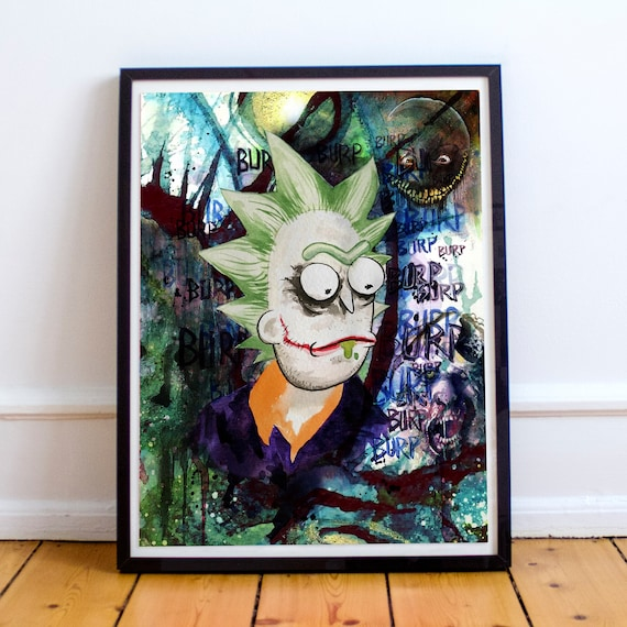 Joker Rick - Rick and Morty Batman Fine Art Print