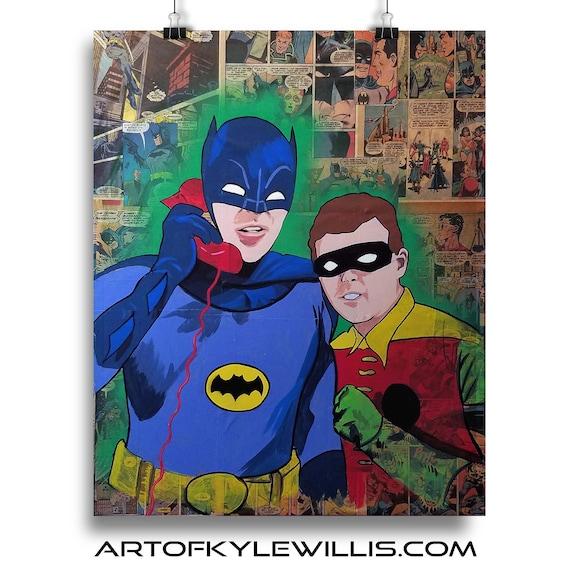 Batman & Robin Collage Painting Fine Art Print