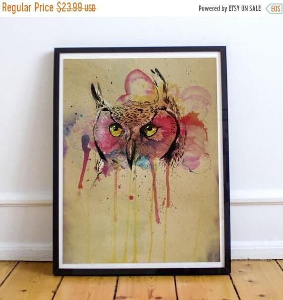 On Sale Owl - Colorful Watercolor Predatory Bird Fine Art Print