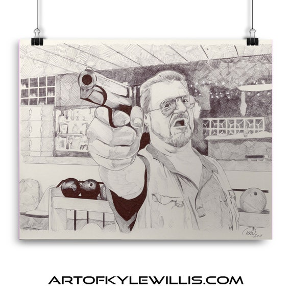Walter Sobchak The Big Lebowski Watercolor Painting Fine Art Print