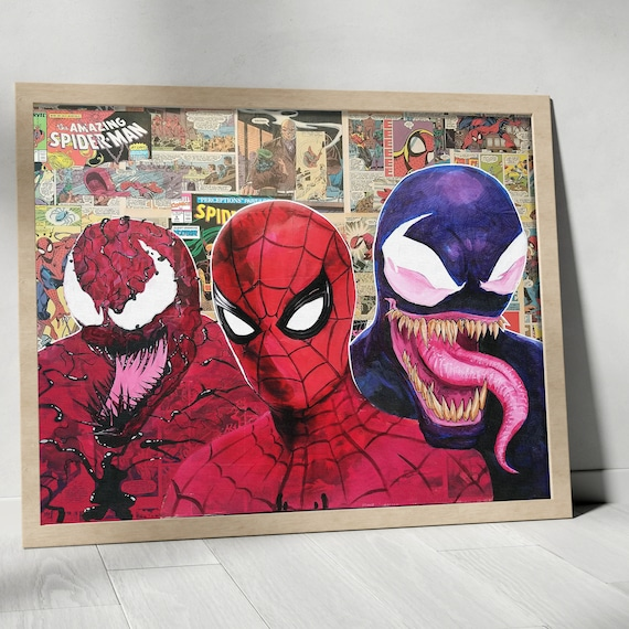 Symbiotic Trifecta - Spider-Man Venom Amazing Spider-Man Collage Painting Fine Art Print