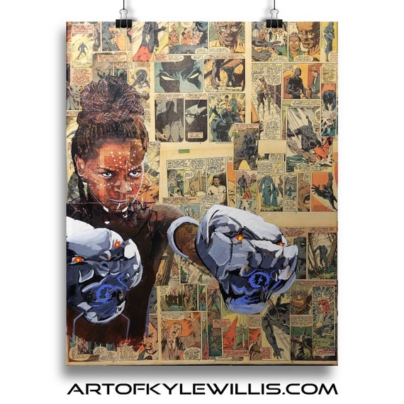 Shuri - Black Panther Letitia Wright Collage Painting Fine Art Print