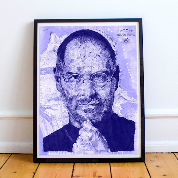 Steve from California - Steve Jobs Sketch Atlas San Francisco Map Limited Edition Print