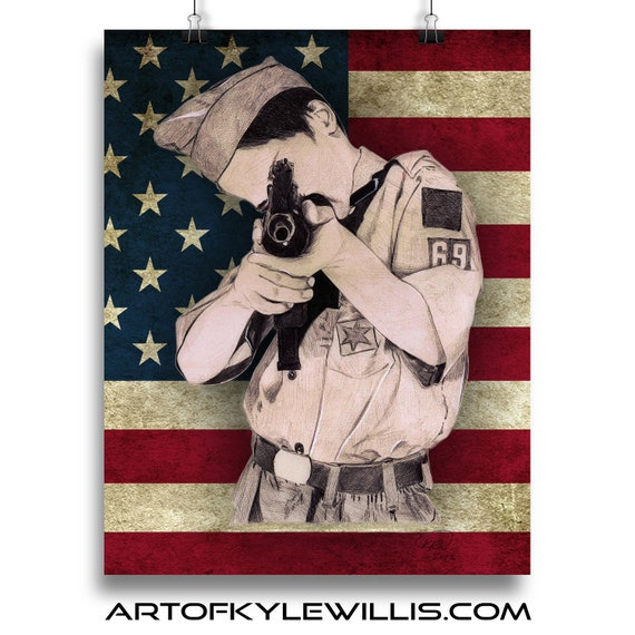 Boy scout with an Uzi Multimedia Fine Art Print