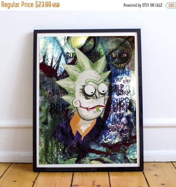 On Sale Joker Rick - Rick and Morty Batman Fine Art Print