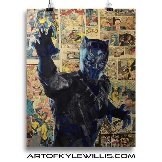 Black Panther Collage Painting Fine Art Print