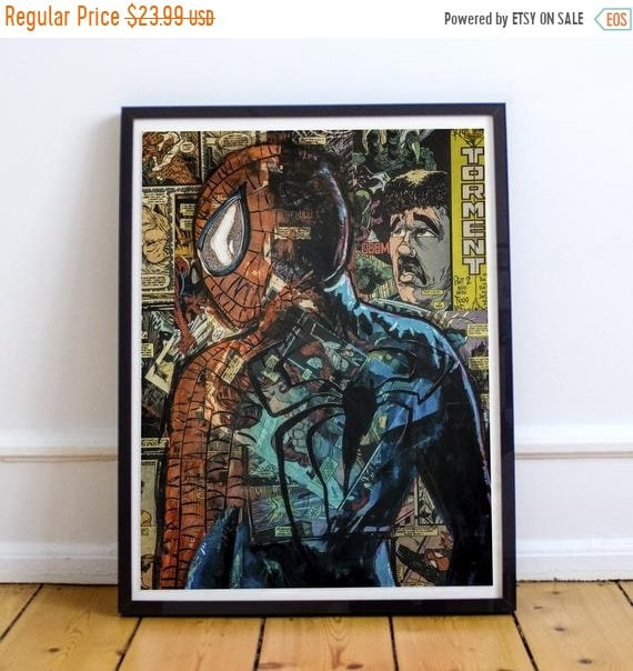 On Sale No Regrets - Amazing Spider-Man Collage Painting Fine Art Print