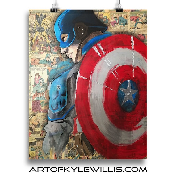 Captain America - Avengers Collage Painting Fine Art Print