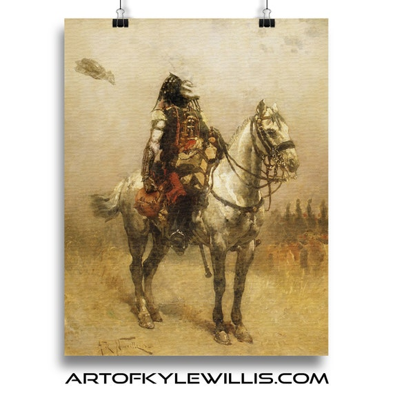 Horseback Hunter - Predator on Horse Painting Fine Art Print