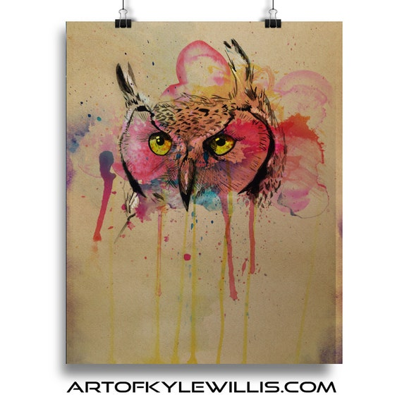 Owl - Colorful Watercolor Predatory Bird Fine Art Print