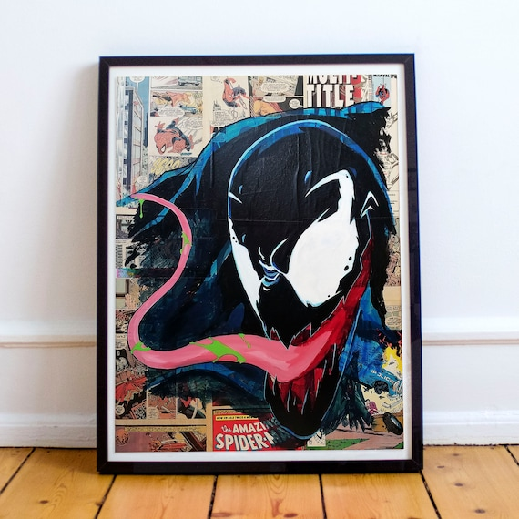 Dinner Time! - Amazing Spider-Man Venom Collage Painting Fine Art Print