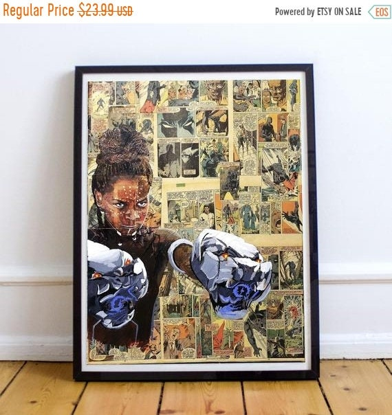 On Sale Shuri - Black Panther Letitia Wright Collage Painting Fine Art Print