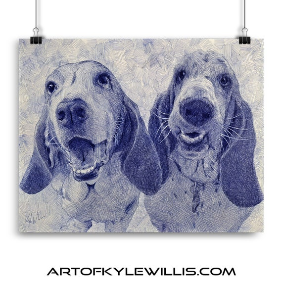 Basset Hound Ballpoint Pen Illustration Fine Art Print