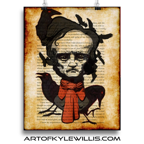 Edgar Allan Poe Tell tale heart multimedia portrait Fine Art Print