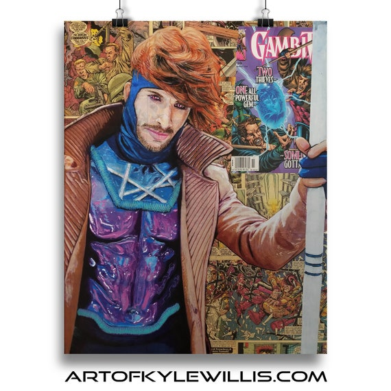 Gambit - Uncanny X-Men Collage Fine Art Print