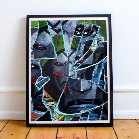 Shattered Doom - Dr Doom Doctor Doom Collage Painting Fine Art Print