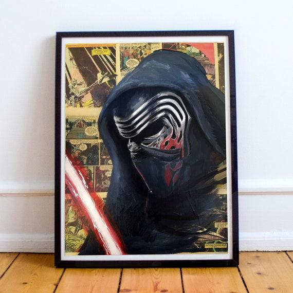 Kylo Ren - STAR WARS Ben Solo Adam Driver Acrylic Collage Fine Art Print