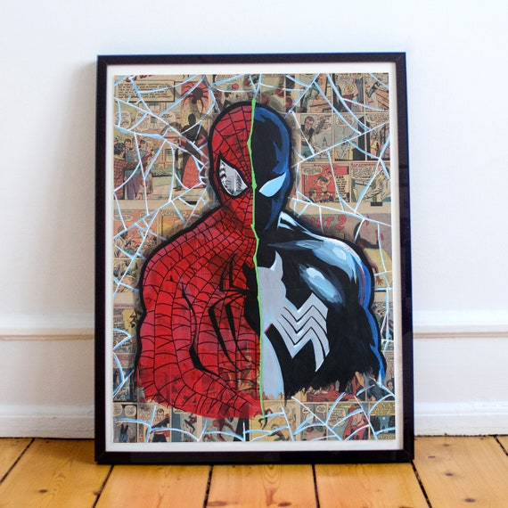 Fault Line - Amazing Spider-Man Collage Painting Fine Art Print