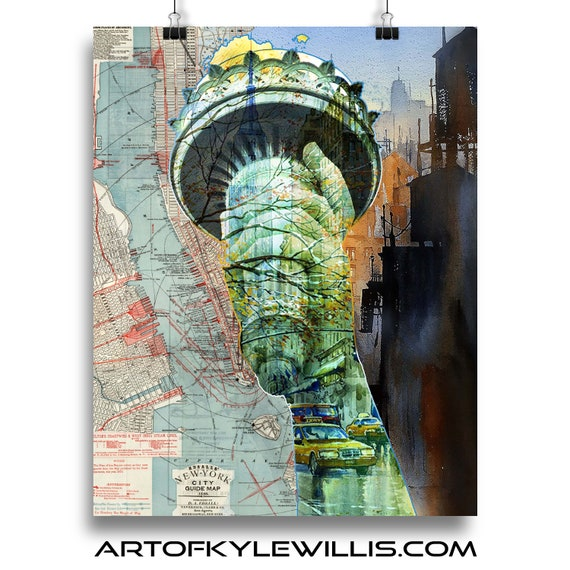 NYC Series LIberty multimedia fine art print