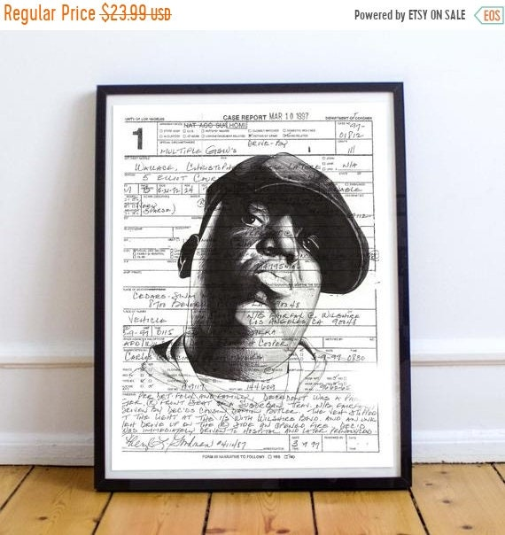 On Sale Biggie Smalls - Ballpoint Pen Illustration Brooklyn Christopher Wallace Notorious B.I.G. Limited Edition Print