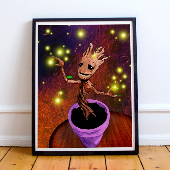 Dancing Baby Groot - Guardians of the Galaxy  Acrylic Collage Painting Fine Art Print
