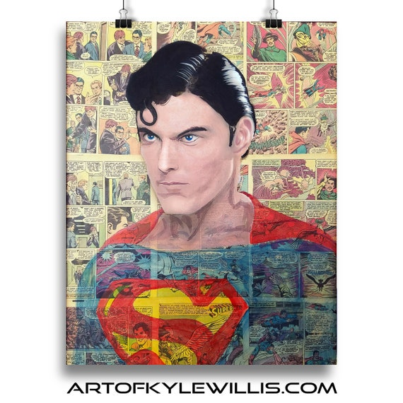 Superman - Christopher Reeve Acrylic Collage Painting Fine Art Print