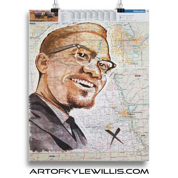 Malcolm X from Nebraska Black Panther Sketch Atlas marker portrait fine art print